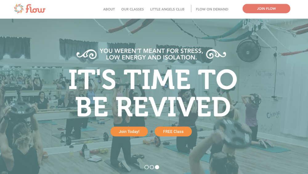 flow fitness website design