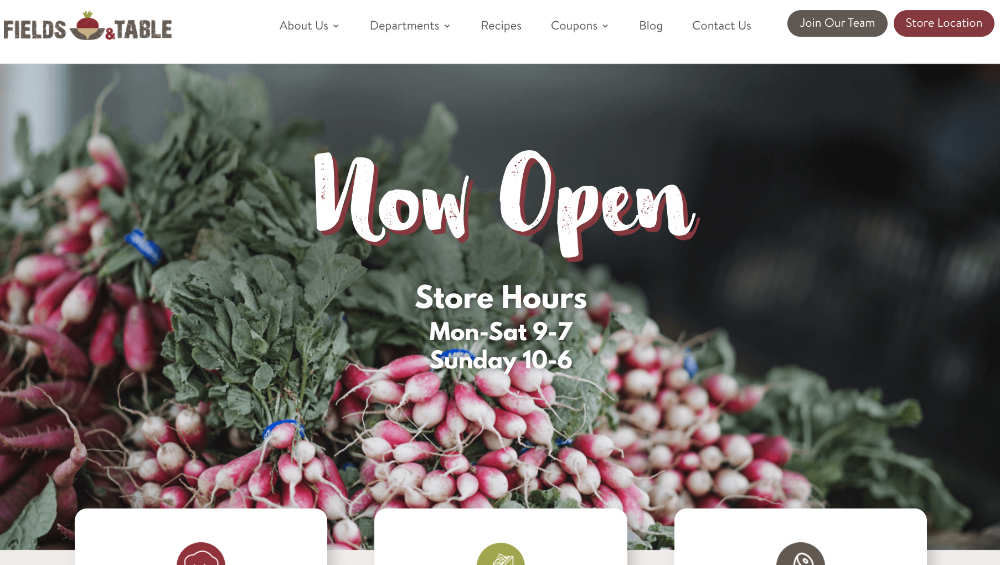 fields and table website design