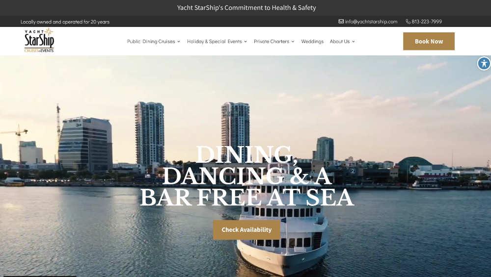 yacht starship website design