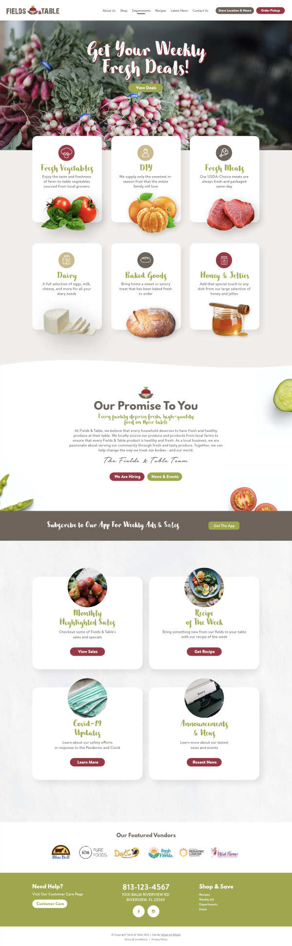 fields and table home page design